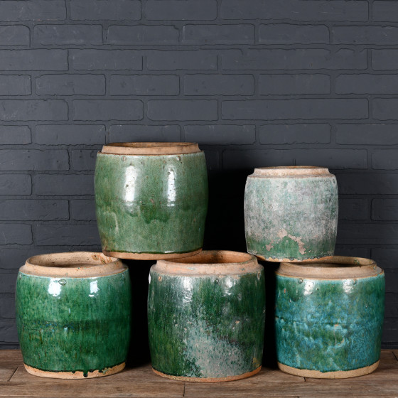 Set of 5 Ancient Chinese Poterries from Borneo (green)